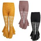 Women Ladies Asymmetric Frill Hem High Waisted Floral Lace Lined Trouser