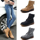 Womens Ladies Vintage Retro Chunky Flat Lace Up New Punk Biker Ankle Boots Shoes