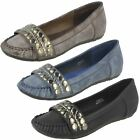Ladies Spot On Moccasin Style Flat Shoes