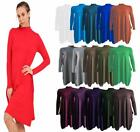 New Womens Polo Neck High Turtle Neck Long Sleeve Flared Swing Skater Dress
