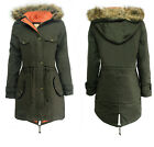 CLEARANCE NEW LADIES OVERSIZED HOODED FUR PARKA WOMENS FISHTAIL JACKET COAT TOP