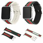 Stripe&Leather Wrist Sport Nylon Band Strap Bracelet For Apple Watch 38mm 42mm