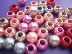 50 acrylic spacer beads European charm bracelets 5 colours no core pearl effect