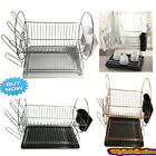 2 TIER DISH DRAINER - DISH RACK WITH DRIP TRAY AND CUTLERY HOLDER