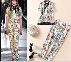 Occident fashion Modern Vintage Printed top+pant leisure makings dress SMLXL