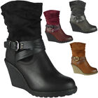 New Womens Ladies Buckle Mid High Heel Wedge Work Office Ankle Boots Shoes Size