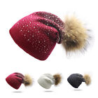 Women Lady Winter Beanie Hat Warm Knitted Cap with Small Crystals Large Pom Poms