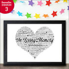 Personalised Wedding In Loving Memory Remembrance Word Art Print Wedding Sign