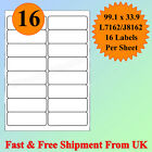A4 SIZE 16 up Label per sheet Address Labels Self Adhesive Inkjet Laser CHEAPEST