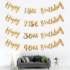 1PC Gold Happy Birthday 18th 21st 30th 40th Bunting Banner Party Gift Decoration
