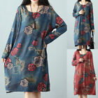 Oversized Women's Ladies Vintage Floral Long Sleeve Crew Neck Loose Casual Dress
