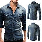 US Mens Traditional Denim Shirt with Flap pocket and Snap button from M XXXL