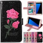 Wallet Embroidery Flip Leather Glitter W/strap Case Cover For Samsung S6 S7 S8