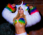 Unicorn fluffy faux fur rainbow UV hoody animal fancy dress shrug casual fancy