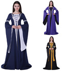 Women Halloween Medieval Dress Up Vintage Floor Length Cosplay Retro Long Dress