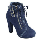 boots cooking gifts - Chic Gift Women's Zip Denim Lace Up Wrapped Chunky Heel Ankle Booties Dark Blue