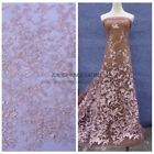 New pink metallic with sequins on mesh enbroidered dress lace fabric 51''