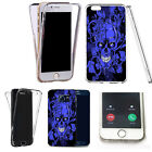 Shockproof 360° Silicone full case for most mobiles -blue vine skull motif