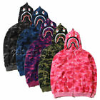 Hot Bathing Ape Bape Shark Jaw Camo Full Zipper Hoodie Men's Sweats Coat Jacket