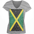 Jamaica Faded Flag Jamaican Country Pride Born From JAM Juniors V-Neck T-Shirt