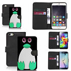 pu leather wallet case for many Mobile phones - green pingu