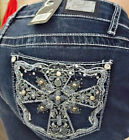 EARL JEANS Embellished Rhinestone Celtic Cross Pockets Straight Leg