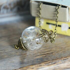 Handmade Real Dandelion Seed Glass Orb Necklace -  Vintage Bronze Wish Jewellery