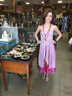 BOHEMIAN WOMENS VINTAGE SILK SARI TWO LAYER GYPSY 2 IN 1 DRESS AND MAXI SKIRTS