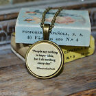 "Winnie the Pooh Quote ""People say nothing is..."" picture pendant necklace 20mm"