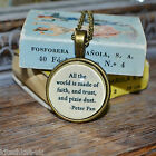 "Peter Pan Quote ""All the world ... Pixie Dust"" picture pendant necklace 20mm"