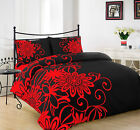 HELEN BLACK RED DUVET COVER WITH PILLOW CASE QUILT COVER BEDDING SET ALL SIZE