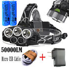 50000LM 5Head CREE XML T6 LED 18650 Micro USB Headlamp Headlight Charger+Battery