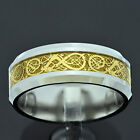 Gold Plated Dragon Scroll Tungsten Celtic Jewelry Men's Wedding Band sz 6-14