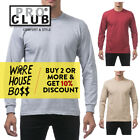 PROCLUB PRO CLUB MENS CASUAL LONG SLEEVE T SHIRT HEAVYWEIGHT SHIRTS COTTON TEE image