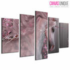 5PA770 Pink Floral Unicorn Forest Animal Multi Frame Canvas Wall Art Print