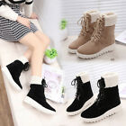 Winter Women Ankle Boots Ladies Army Combat Flat Grip Sole Fur Lined Shoes X-mas