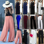 Womens High Waist Solid Palazzo Trousers Casual Loose Stretch Wide Leg Long Pant