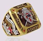Knight Templar Masonic Ring 18k Gold Plated Shield Sword Handcrafted by UNIQABLE