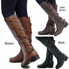 New Women 13-14 in. Slim Calf Width Buckle Riding Knee High Cowboy Boots