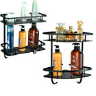 Aluminum Wall Mounted Dual 2 Tiers Bathroom Shower Bath Shelf Rack Holder Caddy