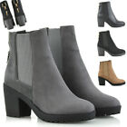 Womens Ankle Boots Elasticated Gusset Ladies Chelsea Booties Size 3-8