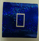 Blue Glitter Effect- Uk Light Switch Stickers, Living Room Bedroom Nursery Decor