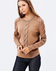 Karen Millen KX117 Camel Gauge Cable Knit Jumper Wool Sweater Pullover Top 10 38