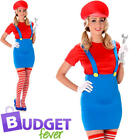 Super Mario Ladies Fancy Dress Red Plumber Jump Video Game Adult Womens Costume