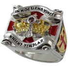 Knights Templar Masonic Ring 18K Yellow White Gold Pld Size Cross Crown UNIQABLE