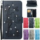 Flip Diamond Wallet Leather Embossing Case Cover For iPhone 5S SE 6S 7 8 10 Plus