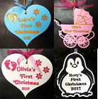 First Christmas personalised wooden bauble pram heart tree ornament baby name