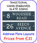 TRADITIONAL HAND ENGRAVED SLATE HOUSE SIGN NAMEPLATES Address Plate Layouts