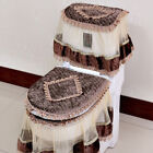 Lace Printed Home Decortion Water Tank Cover+Toilet Cover Seat+Toilet Seat 3pcs