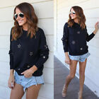 Fashion Women's Loose Top Long Sleeve Star Blouse Ladies Casual Tops T-Shirt